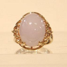Lavendar Jadeite and Diamond Ring Set in 14K Gold