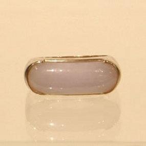 Lavender Jade Saddle Ring Set in 14K Gold