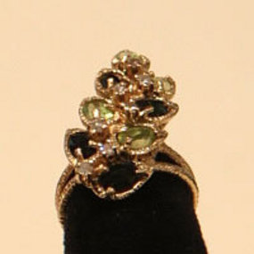 Unique Tourmaline,  Peridot and Diamond Ring  14K