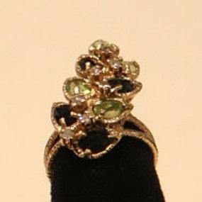 Unique Tourmaline,  Peridot and Diamond Ring  14K
