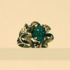 Vintage 14K Black Opal and Ruby Ring Unique Setting