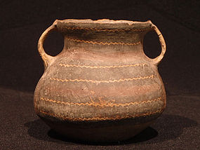 Small Chinese Neolithic Machang Double Handled Jar