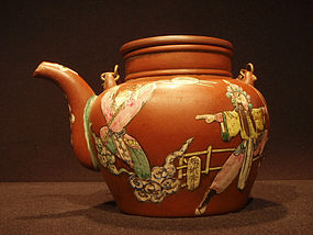 Enamel Decorated Antique Yixing Teapot  Opera Scenes