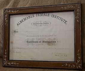 1885 Albemarle Female Institute Certificate Virginia