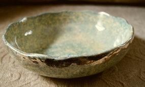 C1920 Spongeware Ohio Yellowware Blue Fruit Bowl