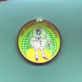 1957 New Orleans Mardi Gras Jester Hologram Pin Back