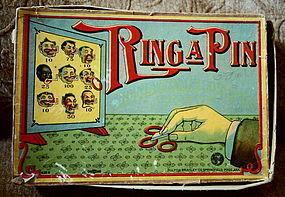 RARE 1910 Milton Bradley Co Sambo Game RING A PIN