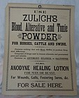 Veterinary Medicine Zulichs Blood Tonic Powder Sign