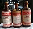 3 1930s Parke Davis Poison Drugstore Pharmacy Bottles