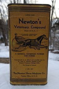 Newtons Veterinary Horse Medicine Tin w/great graphics