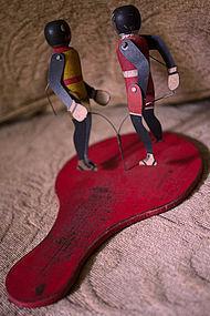 1920-30s Black Memorabilia Tin + Wood Boxers Paddle Toy