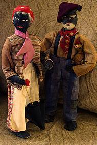 1930s Alabama WPA Project Folk Art Black Cloth Dolls