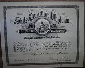 RARE 1899 California School Teacher Certificate Diploma