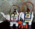 2 Black Americana Native Good Luck Elephant Teapots C1930s Japan