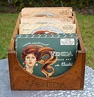 Vintage Venida Hair Net Wood Display Cabinet w/product