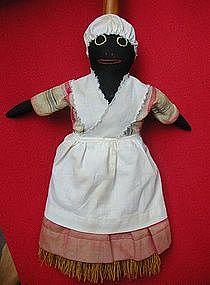 Wonderful 1940s Cloth Black Americana Mammy Broom Doll