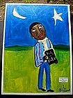 Original Outsider Folk Art Black Preacher Man Prays