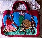 1940 Wool ToteBag Black African Family w/Fab Bead Work