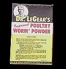 Dr. LeGear's Vet Poultry Worm Powder w/nice Graphics