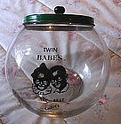 1950 Glass Chocolate Candy DisplayJar Twin Black Babies