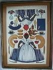 Framed 1912 Mammy + Her Thanksgiving Dinner Paper Doll