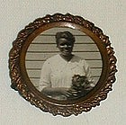 RARE1920 Black Memorabilia Mourning Jewelry Brooch Lady