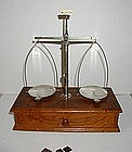 1900s Vintage Oak Apothecary Prescription Balance Scale