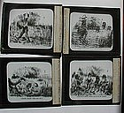 RARE Set C1900 Black Memorabilia Glass Lantern Slides