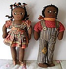 Cute1940 Boy Girl Pair Black Cloth Dolls North Carolina