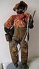 "1930 Alabama WPA Folk Art Black Cloth Doll ""Fisherman"""