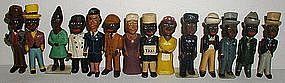 RARE 1920s Hand-Carved Wood Miniatures of Black Folk