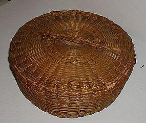 1910 Native American Sweet Grass + Poplar Sewing Basket
