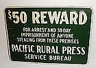 Vintage $50 Reward Sign Pacific Rural Press California