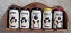 1950 Black Mammy Pappy 5 Ceramic Jars Spice Set w/ Rack