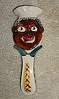 Colorful 1950s Japan Black Chef Ceramic Spoon Rest