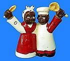 1940s Japan Black Mammy + Male Chef Oil Vinegar Cruet