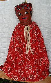 Colorful 1950s Black Mammy Paisley Cloth Laundry Bag