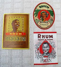 Vintage 1930-40's French Rum Label Black Memorabilia