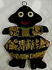 1930s HandMade Black Girl Wood + Cloth Key Hanger