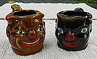 Pair 1950s Japan Black Americana Clown Pipe Ashtrays