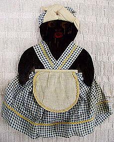 1930s HandMade Black Mammy Wood + Cloth Key Hanger