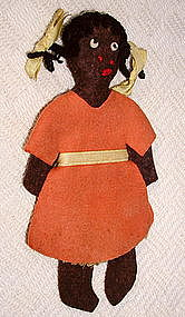 1940s Pigtailed Black Girl Wool Felt Sewing Needle Case