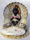 Fab 1920s Sea Shell Souvenir Black Boy with Watermelon