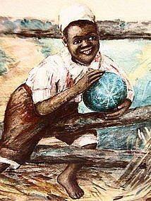 C1910 Sweet Watercolor Black Boy Holding Watermelon