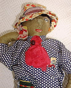1930s Wonderfully Hand-Stitched Black Man Cloth Doll