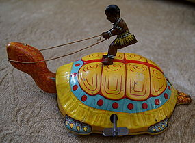 1920s Tin Toy Chein Wind-Up BLACK NATIVE Riding Turtle