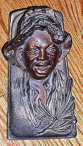 Stunning C1920 Johnny Griffin Black Boy Brass Inkwell
