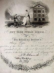 RARE 1840s NEW YORK Public School Student Merit Awards