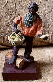 1920 New Orleans Vargas Wax Black Doll Vegetable Seller