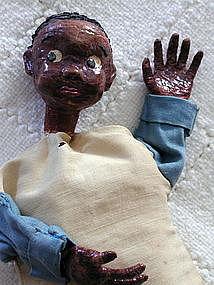 1950s Artisan Crafted Papier Mache Black Boy Puppet Folk Art